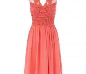 Discount coral bridesmaid dresses 2016 chiffon lace short for Cheap wedding dresses in ct
