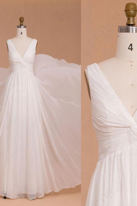 Simple Elegant Chiffon v-NECK Floor Length Wedding Dresses