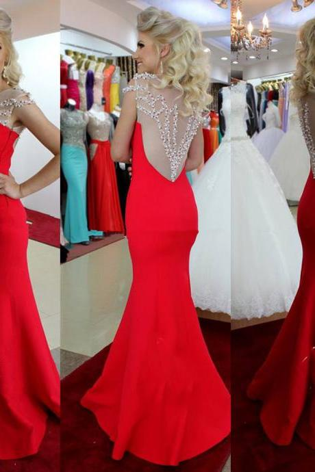 Red Prom Dress Mermaid/Trumpet with Beading Satin Brush/Sweep Train Party Dress